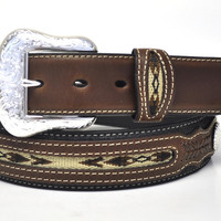 Nocona Men's Western Concho Leather Belt-Black
