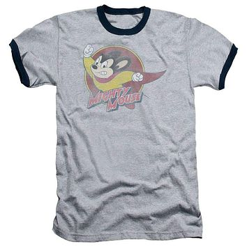 Mens Mighty Mouse Circle Ringer Tee Shirt