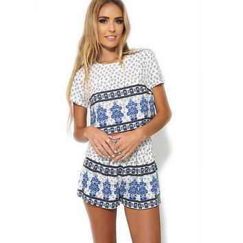 Floral Print Short Sleeve T-Shirt with Shorts