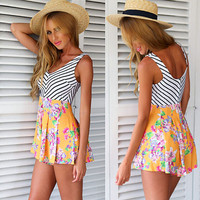 Floral and Striped Sleeveless Romper