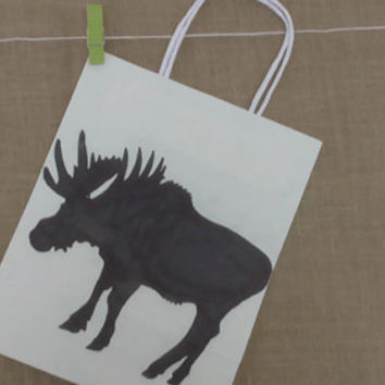 Moose Gift Bag, Wild Animal Silhouette, 10.5 x 8 x 4.5
