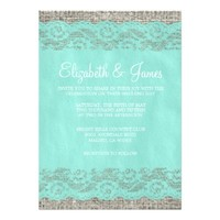 Teal Rustic Lace Wedding Invitations