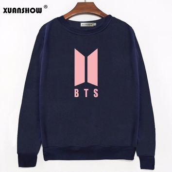 XUANSHOW 2017 Autumn Winter New LOVE YOURSELF Letters Women Sweatshirts Kpop Bangtan Boys Fans Clothing Women Pullovers Hoodies