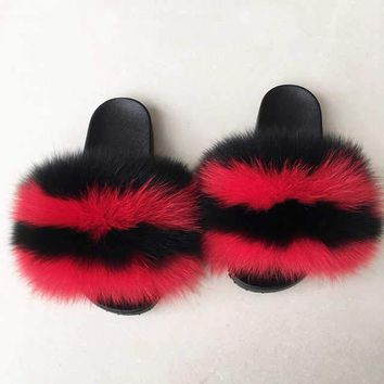 Brickhouse fox fur slides