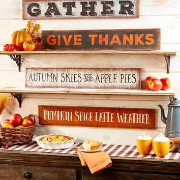 "Autumn Fall Wall Art Sign 30"" Pinewood Harvest Sentiments Thanksgiving Seasonal"