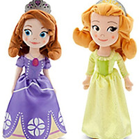 """Disney Store Sofia the First 13"""" Plush Doll Set Featuring Sofia and Amber"""