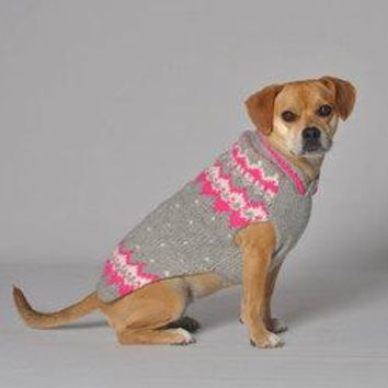 Handmade Alpine Fair Isle Wool Dog Sweater - Pink