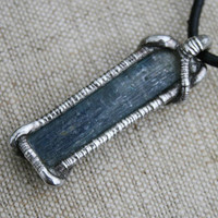 Huge MEN pendant raw men necklace KYANITE NECKLACE pendant gemstone  blue jeans pendant kyanite healing stone ancient rustic necklace