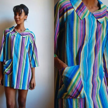 Vtg Mod Zip Up Colorful Striped Terry Cloth Collar Dress