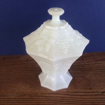 Milk Glass Covered Candy Dish Octangonal Embossed Grape and Leaf Pattern