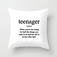 Teenager. Throw Pillow by Sjaefashion | Society6
