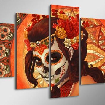 Day of the Dead Face Skull Face 5-Piece Wall Art Canvas