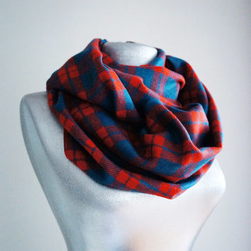 Handmade Plaid Infinity Scarf - Tweed - Red Teal Bondi Blue- Winter Autumn Scarf