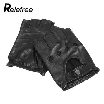 Relefree Mens Genuine Leather Fingerless Gloves Black and Brown Half Finger gym Workout Fitness Driving Male Gloves