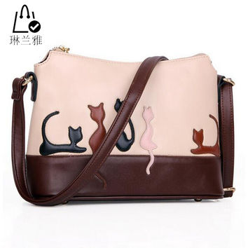LINLANYA Dual Use Women Detachable Belt Crossbody bags Cute Cat Rabbit PU Leather Girls Shoulder Bag Lady Messenger  Casual Tote