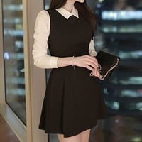 3/4-Sleeve Mock Two-Piece Collared Dress