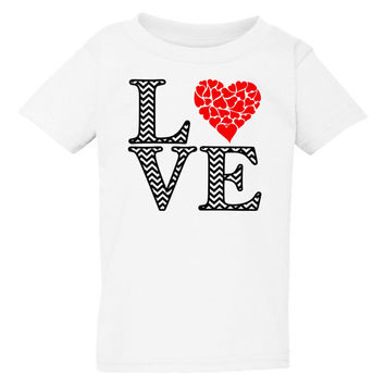 Chevron Love Toddler T-Shirt - Toddler Valentine's Day Shirt - Love Shirt