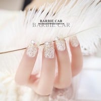 New 24 pieces Noble White Lace French Sexy 3D Fashion Style With Design Long Fake false Sticker Nails Tips With Glue [N537]