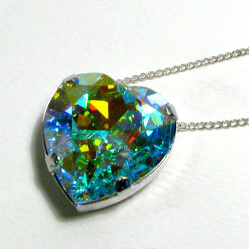Galactic Heart - Large Aurora Borealis Swarovski Heart Crystal Necklace in Silver