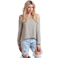 Beige Striped Cutout Shoulder Long Sleeves High Low Shirt