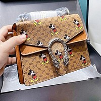 GUCCI x Disney Dionysian Fashion Women Shopping Bag Leather Handbag Tote Shoulder Bag Crossbody Satchel