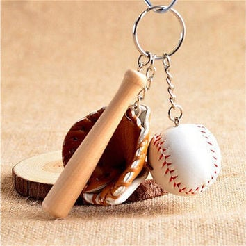 1X Mini Baseball Three-piece Charm Pendant Purse Bag Keyring Key Chain Keyfob HU