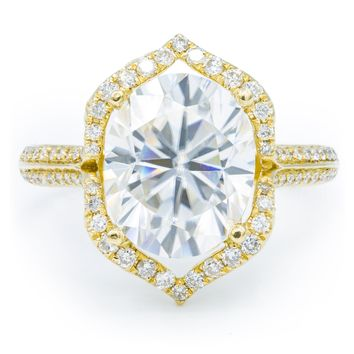 11x9mm Oval Moissanite 14K Yellow Gold Halo Diamond Accent Ring