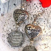 Heart Quote Earrings Well Behaved Women Rarely Make History Antique Silver earrings Valentines Day Gift