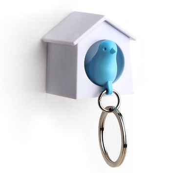 Mini Sparrow Key Ring Holder (white/blue)