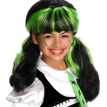 Drama Queens Girls Frankie's Girl Wig - Child Std. Black and Green