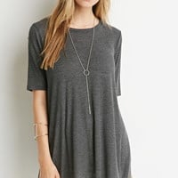 Longline Ribbed Knit Trapeze Tee