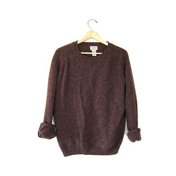 Vintage Dark Brown WOOL Sweater. LL BEAN crewneck wool pullover. Boyfriend sweater. Large