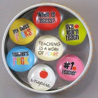 Teacher Gift Magnet Set 7 magnets in a tin Dot by DotThoughts