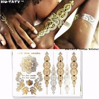 Nu-TATY Metallic totem Gold Temporary 3d Fake Tattoos Body Arts Retro Tatto Flash Sticker Swimsuit Bikini Makeup Tools