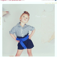 SALE Girls Shorts: The Black Dotted Ruffle Top Shorts in Black and Gold from the Autumn Winter Collection by Fleur and Dot