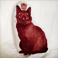 Hand printed inkodye decorative red cat pet portrait pillow