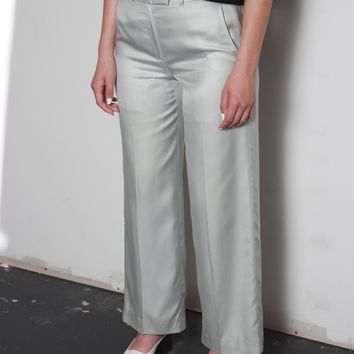 Silver Silk Trousers / S 28 Inch Waist
