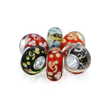 Floral Foliage Murano Glass 6 925 Sterling Silver Bead Charm Bracelet