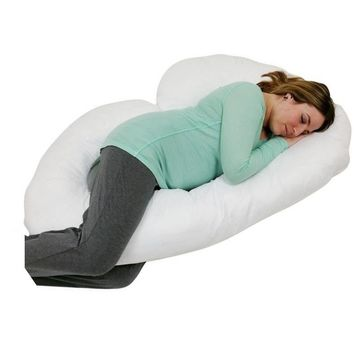 J SHAPED PREGNANCY/ MATERNITY PILLOW WITH ZIPPERED COVER