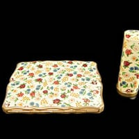 Stratton Compact and Lipstick Case Floral  Set in Original Box and Stickers Unused