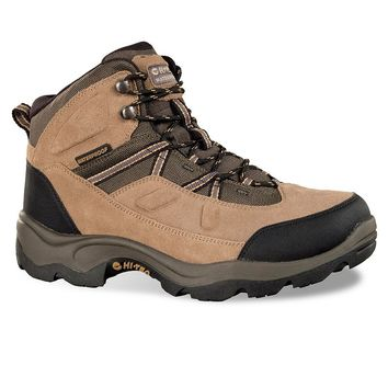Hi-Tec Bandera Pro Men's Mid-Top Waterproof Steel-Toe Work Boots (Beige/Khaki)