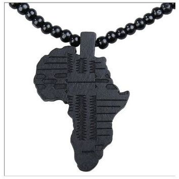 Wooden Map Africa Piece Pendant Rosary Bead Chain Necklace  [8081671303]