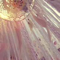 Boho Nursery Canopy - Laces Bed Crown - Bohemian Bedroom Decor - Gypsy Bed -  Dreamcatcher Mobile - Made to Order