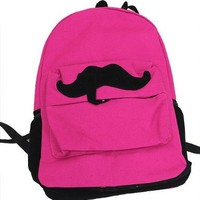 Fashion Cute Mustache Canvas Campus Bag Laptop Book Bags School Backpack For Boys Girls (Hot Pink)