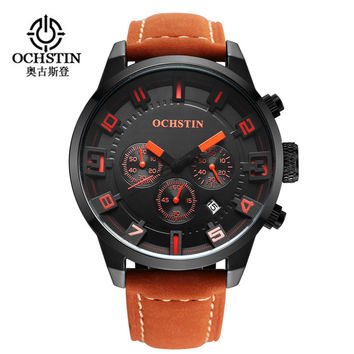 New Watch Men Sport Men's Watches Leather Quartz Waterproof Chronograph Hour Clock Military Army Fashion