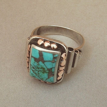 OLD PAWN Vintage Native American NAVAJO Ring Turquoise Solid Sterling Silver Band 13.5 Grams c.1930s