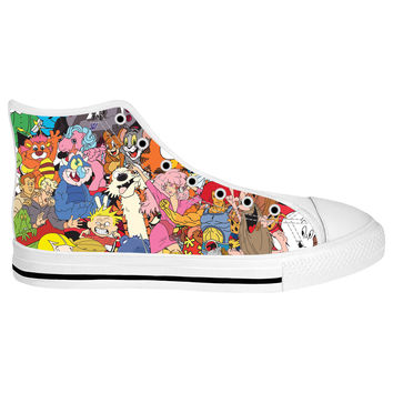 80's Cartoon Collage White Sole High Tops