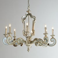 Architectural Eight-Light Mirrored Chandelier - Florence de Dampierre