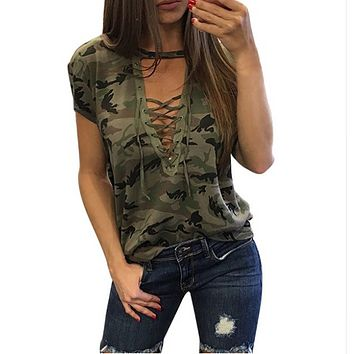 Women Summer Camouflage Blouse
