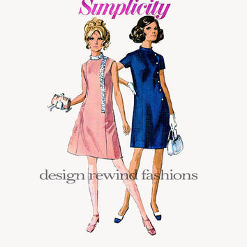 1950s Misses COCKTAIL Day A-Line DRESS Asymmetrical Closures Stand Up Collar Princess Seams Bust 32.5 Simplicity 7986 Vintage Sewing Pattern